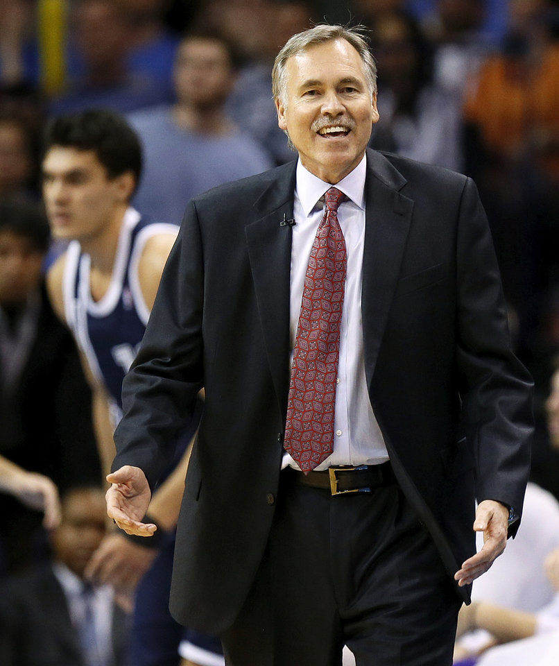Photo - LA head coach Mike D'Antoni reacts to a call during an NBA basketball game between the Los Angeles Lakers and the Oklahoma City Thunder at Chesapeake Energy Arena in Oklahoma City, Friday, Dec. 13, 2013. OKC won, 122-97. Photo by Nate Billings, The Oklahoman