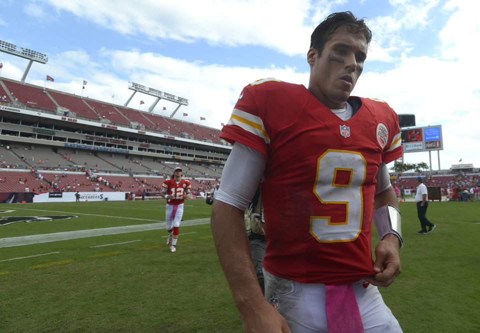 Kansas City Chiefs quarterback Brady Quinn (9) walks off the field after a 38-10 loss to the Tampa Bay Buccaneers in NFL football game in Tampa, Fla., Sunday, Oct. 14, 2012. Tamba Bay won 38-10.(AP Photo/Phelan M. Ebenhack) ORG XMIT: TPS119