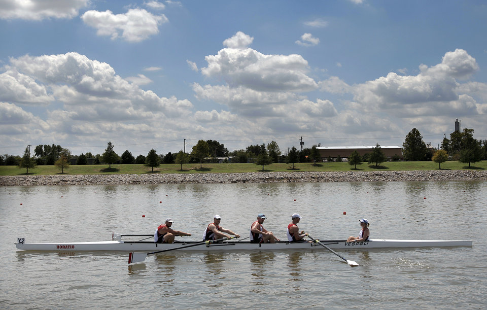 Photo - Rowers compete during the USRowing Masters National Championships on the Oklahoma River, Sunday, Aug. 14, 2011. Photo by Sarah Phipps, The Oklahoman
