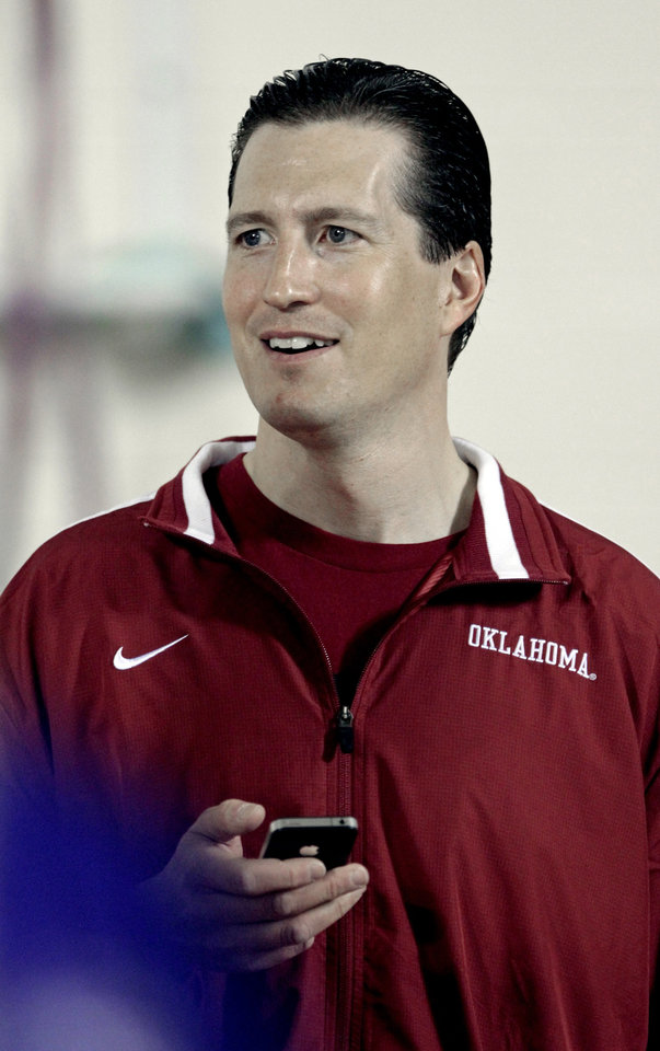 New assistant athletic director Pete Moris talks with media at the University of Oklahoma (OU)\'s football team\'s annual Pro Day workouts on Wednesday, March 14, 2012, in Norman, Okla. Photo by Steve Sisney, The Oklahoman