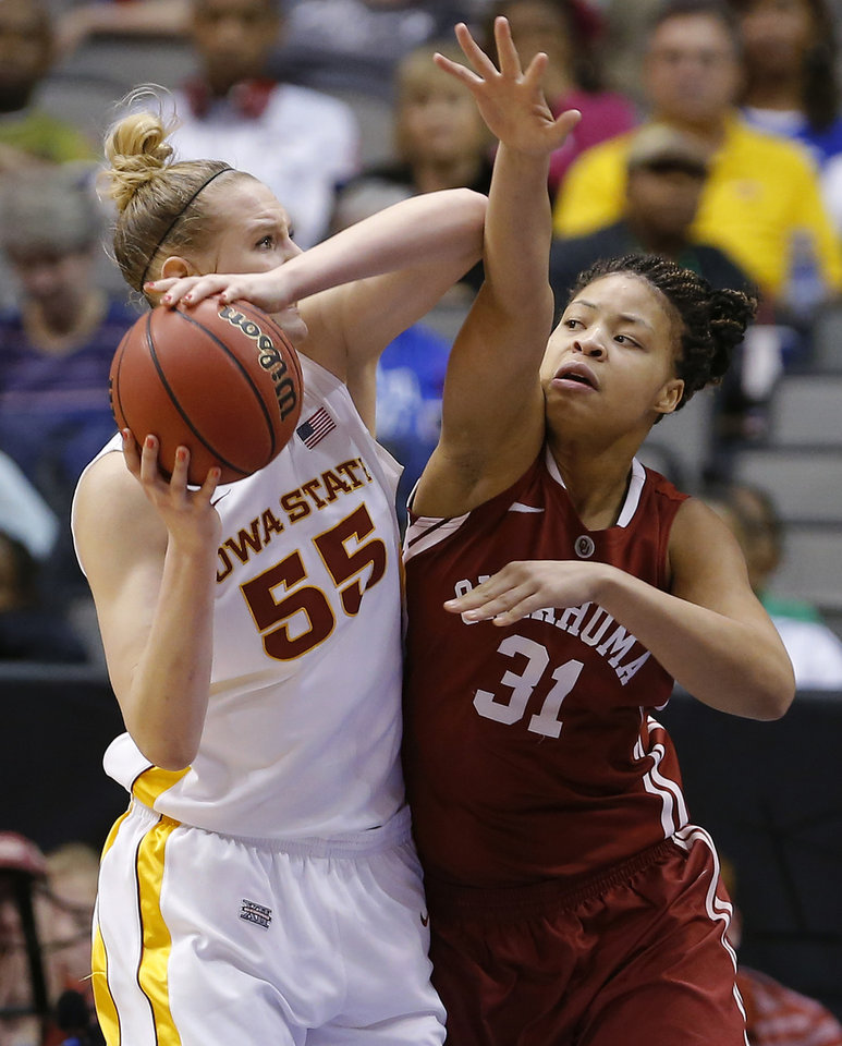 Photo - Oklahoma's Portia Durrett (31) defends Iowa State's Anna Prins (55) during the Big 12 tournament women's college basketball game between the University of Oklahoma and Iowa State University at American Airlines Arena in Dallas, Sunday, March 10, 2012.  Oklahoma lost 79-60. Photo by Bryan Terry, The Oklahoman