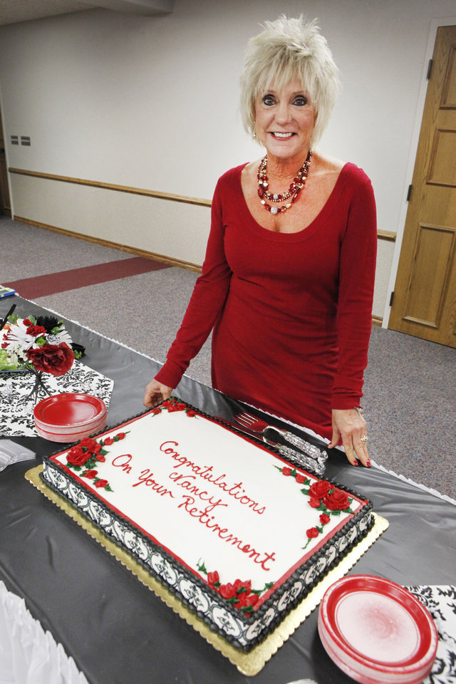 City Clerk Nancy Nichols is retiring after 28 years with the city of Edmond. She was honored with a retirement party this week. PHOTO BY DAVID MCDANIEL, THE OKLAHOMAN <strong>David McDaniel - The Oklahoman</strong>