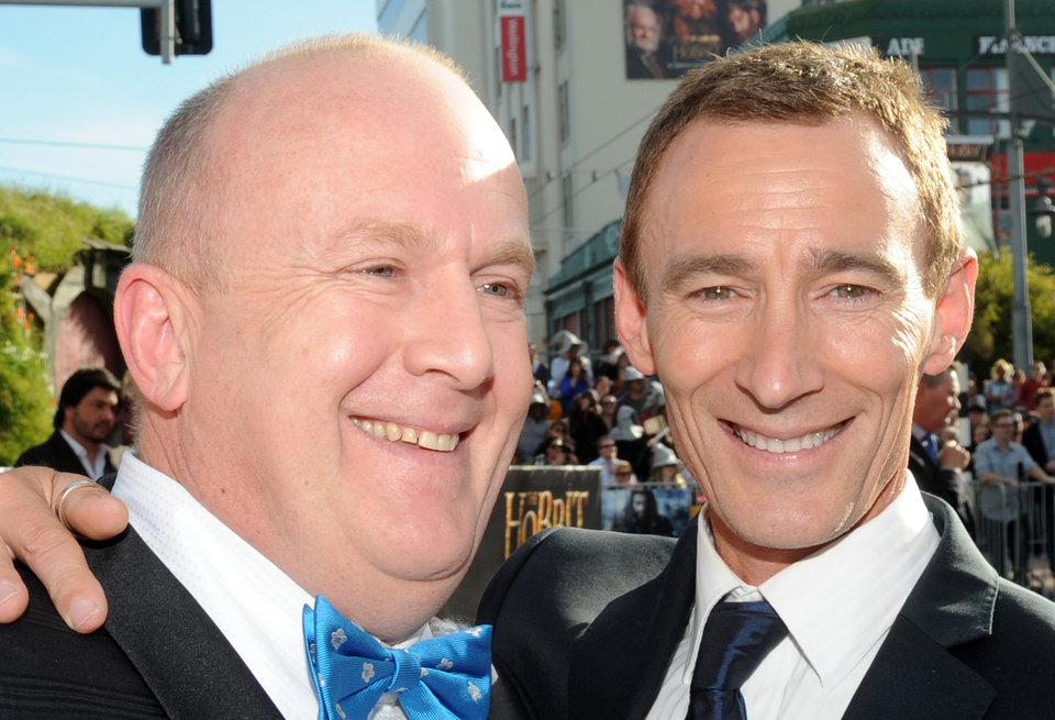 Photo -   Cast members Peter Hambleton, left, who plays Gloin and Jed Brophy who plays Nori, pose on the red carpet at the premiere of