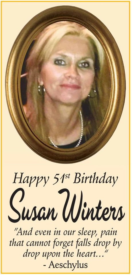 Photo -  Susan Winters' family took out an ad in The Oklahoman to mark what would have been her 51st birthday