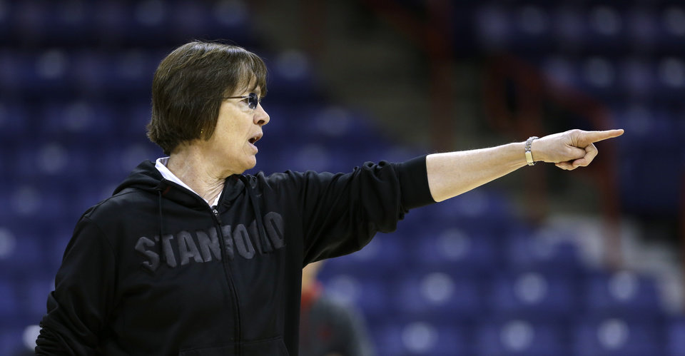 Stanford coach Tara VanDerveer talks to her players during practice for a regional semifinal in the NCAA women's college basketball tournament Friday, March 29, 2013, in Spokane, Wash. Stanford plays Georgia on Saturday. (AP Photo/Elaine Thompson)