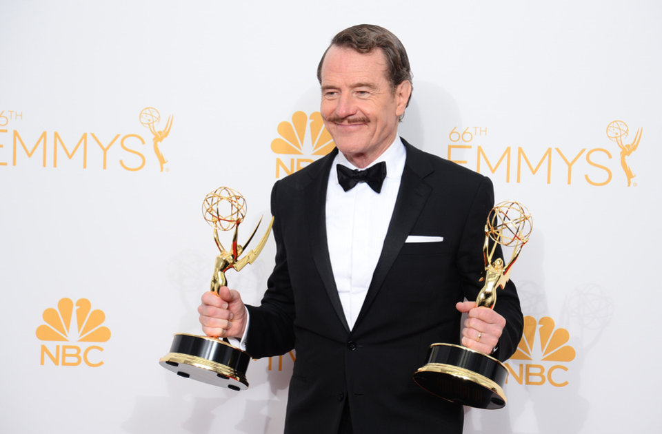 "Photo - Bryan Cranston, winner of the award for outstanding lead actor in a drama series for his work in ""Breaking Bad,"
