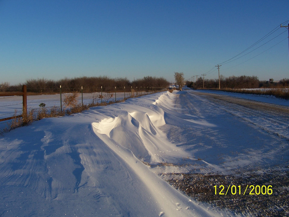 Snow Drifts<br/><b>Community Photo By:</b> Linda Pierce<br/><b>Submitted By:</b> Linda, El Reno