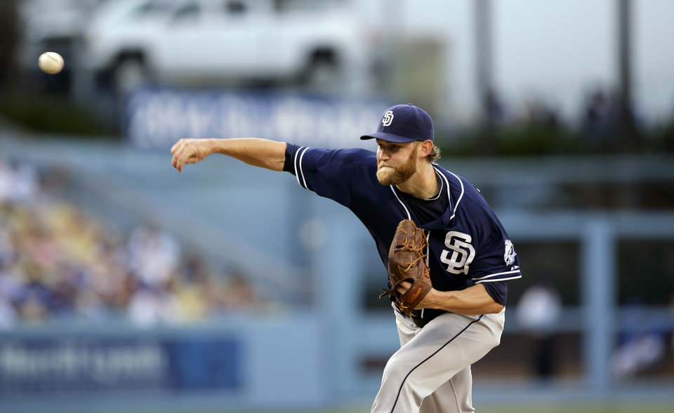 San Diego Padres starting pitcher Andrew Cashner throws against the Los Angeles Dodgers during the first inning of a baseball game on Saturday, Aug. 31, 2013, in Los Angeles. (AP Photo/Jae C. Hong)
