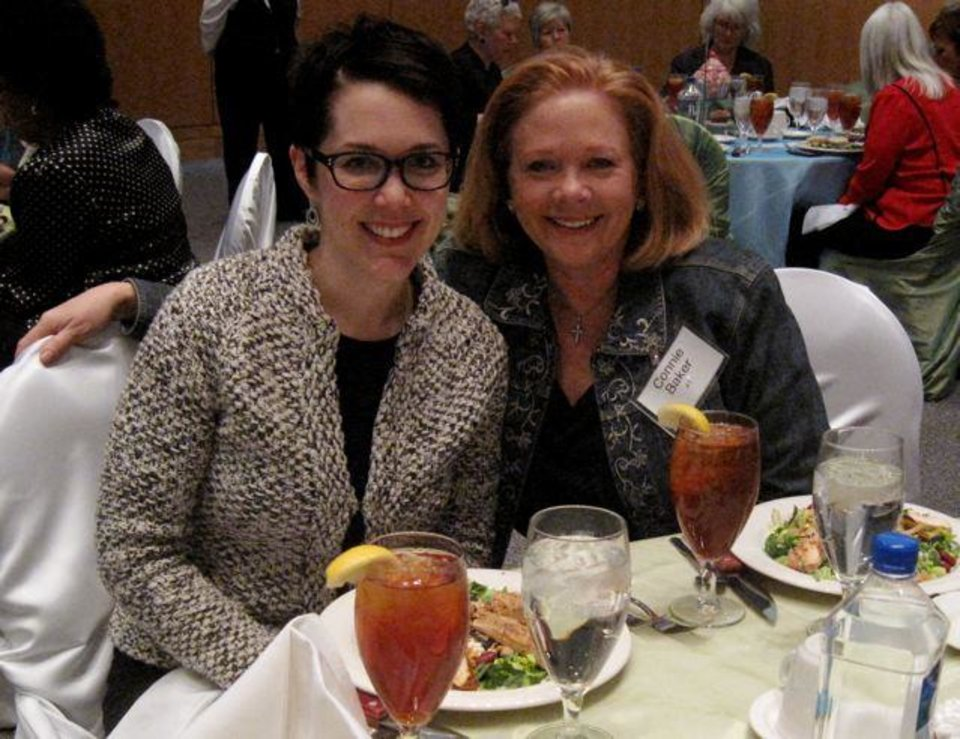 Jennifer Thurman and Connie Baker enjoyed the tea. (Photo by Helen Ford Wallace).