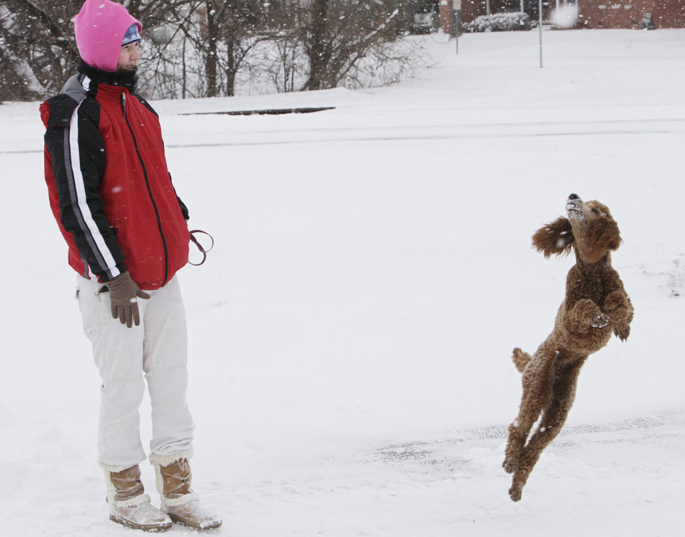 Photo - Wednesday's snowstorm was hard on people, but Misty Watson, 24, of Edmond said her red poodle, Penny, just loves the snow.  Watson said one of her poodle's favorite games is catching snowballs that have been thrown in the air, but her pet gets a little confused when the snowballs just disappear, Wednesday, February 9 , 2011. Photo by David McDaniel, The Oklahoman