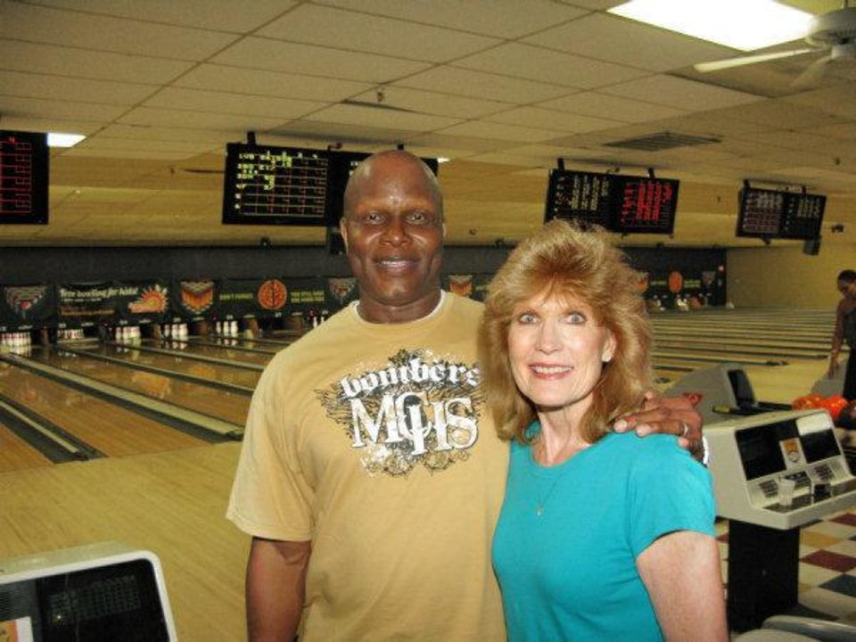 Blake Griffin's parents, Tommy and Gail Griffin, at their son's recent Bowling Down Cancer Charity Event. PHOTO BY LILLIE-BETH BRINKMAN, THE OKLAHOMAN.         <strong></strong>