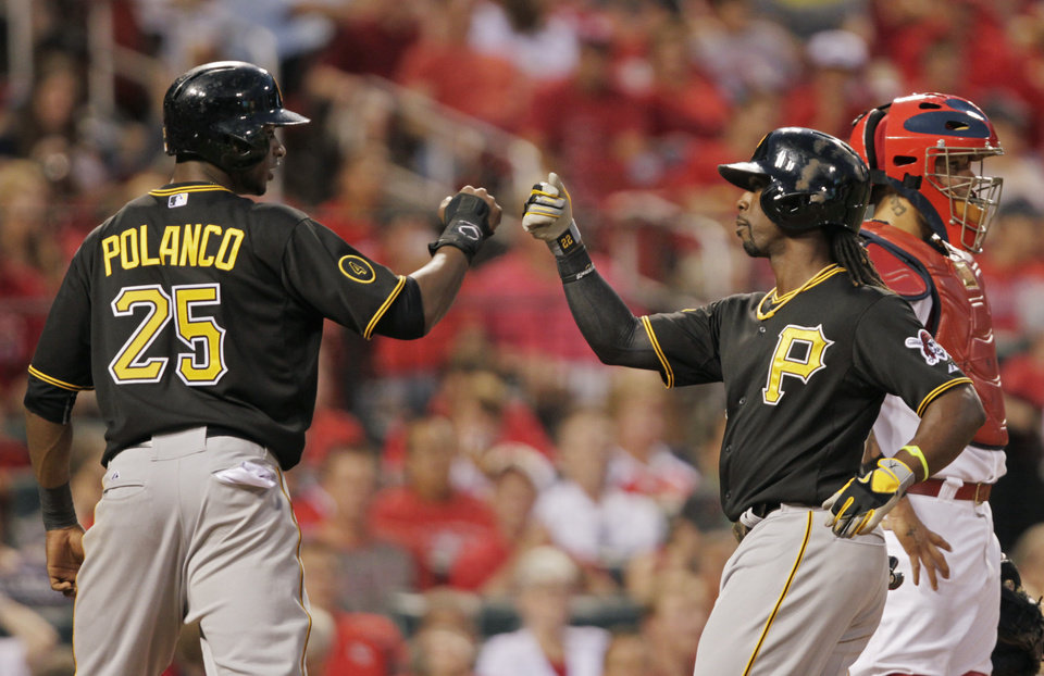 Photo - Pittsburgh Pirates' Gregory Polanco (25) celebrates with teammate Andrew McCutchen after he hit a two-run home run, as St. Louis Cardinals catcher Yadier Molina watches the field, in the fifth inning of a baseball game, Tuesday, July 8, 2014 in St. Louis. (AP Photo/Tom Gannam)