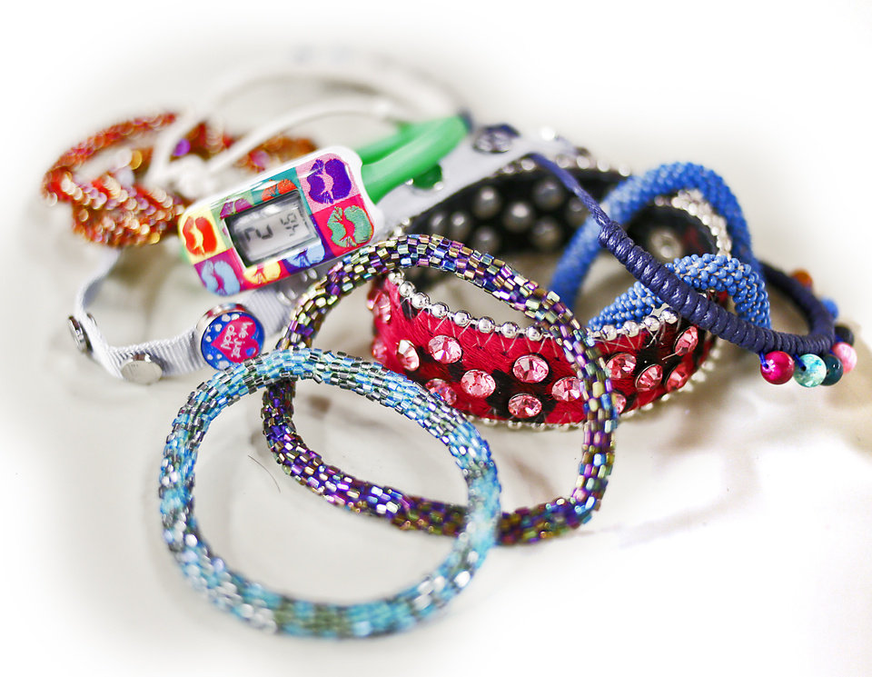 Bracelets are hot for women and girls this season. These colorful woven bracelets are sold at Keedo Kids in The Shoppes at Northpark. Photo by Chris Landsberger, The Oklahoman. <strong>CHRIS LANDSBERGER</strong>