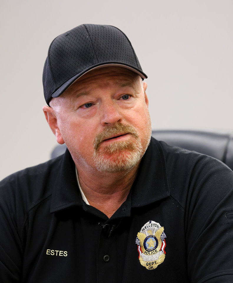 Photo - Tim Estes, police chief of Wellston police department, during an interview on Tuesday, Oct. 25, 2016, about shootout involving three of his officers, leaving two of them injured. Photo by Jim Beckel, The Oklahoman