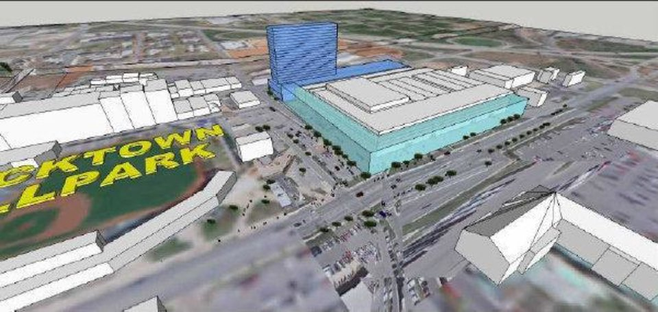 This rendering shows how a convention center and hotel could be developed in east Bricktown across from the ballpark and Bass Pro Shops. The location was ranked second by the consultant Populous and a committee tasked with site selection. Concerns include its distance from the Central Business District. <strong>provided</strong>