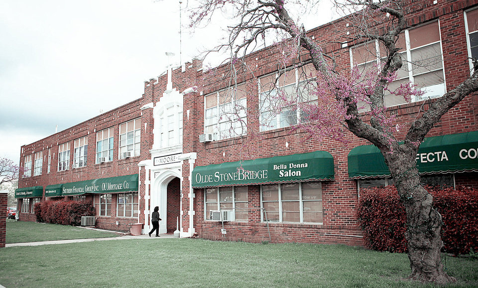 Moore�s Old School was opened in 1928 and closed in the 1980s. It�s now home to businesses and is the subject of a documentary. Photo by Bryan Terry, The Oklahoman