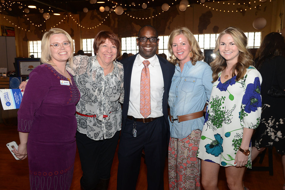 Photo -  Amy Brewer, Terri Watkins, Andre Caldwell, Debbie and Sarah Powers. Photos by David Faytinger, for The Oklahoman