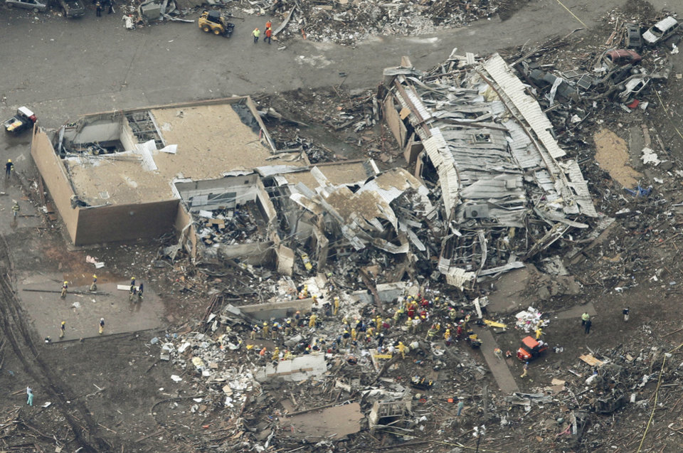 Aerial view of the Plaza Towers Elementary School after massive tornado hit Moore, Oklahoma Monday May 20, 2013. Photo By Steve Gooch, The Oklahoman