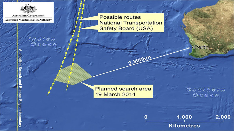 Photo - This graphic made Wednesday, March 19, 2014 and released by Australian Maritime Safety Authority (AMSA) Thursday, March 20, 2014, shows an area in the southern Indian Ocean that the AMSA is concentrating its search for the missing Malaysia Airlines Flight MH370 on. AMSA response division manager John Young has identified their search will cover a massive 600,000 square kilometers (232,000 square miles) area, saying it will take weeks to search thoroughly. Australian Prime Minister Tony Abbot said Thursday that two objects possibly related to the missing Malaysia Airlines flight have been spotted on satellite imagery in the Indian Ocean and an air force aircraft was diverted to the area to try to locate them. (AP Photo/Australian Maritime Safety Authority)