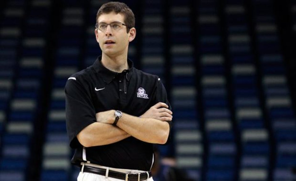 Butler head coach Brad Stevens watches his players during a practice session for their NCAA Southeast regional college basketball semifinal game Wednesday, March 23, 2011, in New Orleans. Butler plays Wisconsin on Thursday, March 24. (AP Photo/Gerald Herbert)