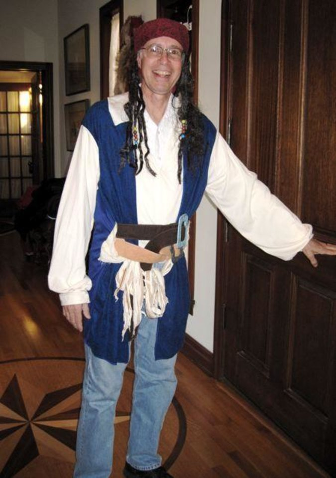 AHOY MATEYs...Blue Clark dressed the part for the party. (Photo by Helen Ford Wallace).