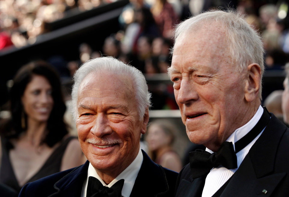 Christopher Plummer, left, and Max von Sydow arrive before the 84th Academy Awards on Sunday, Feb. 26, 2012, in the Hollywood section of Los Angeles. (AP Photo/Matt Sayles) ORG XMIT: OSC230