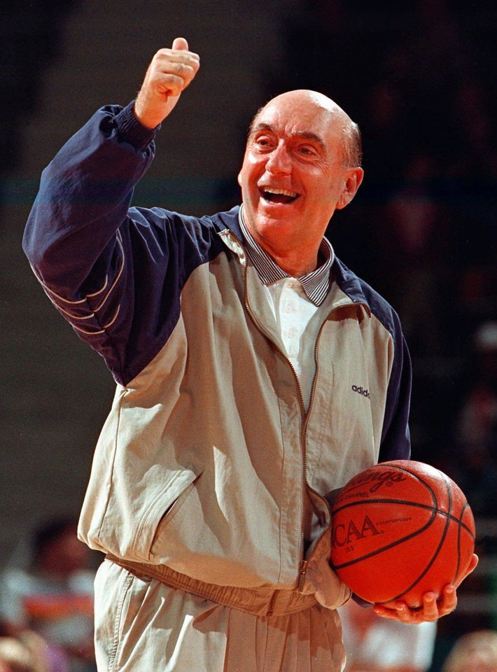 Photo - ESPN commentator Dick Vitale gives a thumbs-up to the crowd at Kansas State University's