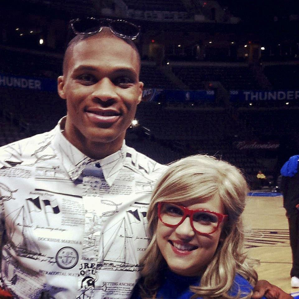 Photo - Lorelei Decker mimics Thunder point guard Russell Westbrook with lensless frames during a visit. PHOTO PROVIDED
