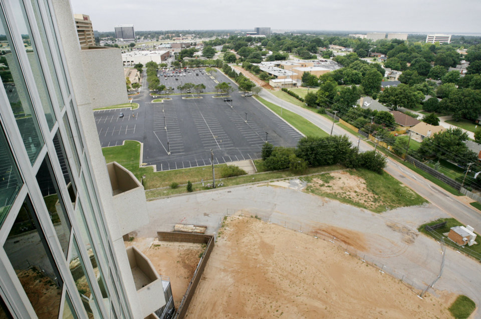 Photo - CONDOS: A view from a balcony of an upper floor in new Founders Tower Condominiums, 5900 Mosteller Drive on Thursday, Aug. 30, 2007.  By Jim Beckel,  The Oklahoman.  ORG XMIT: KOD