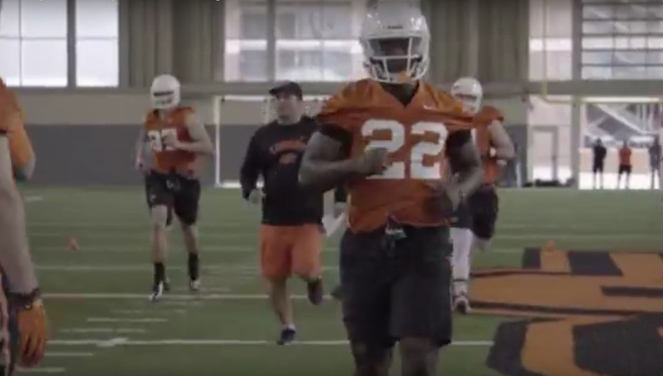 Photo - Oklahoma State running back Ja'Ron Wilson has been a bright spot this spring for the Cowboys. Photo courtesy of OSU Athletics.