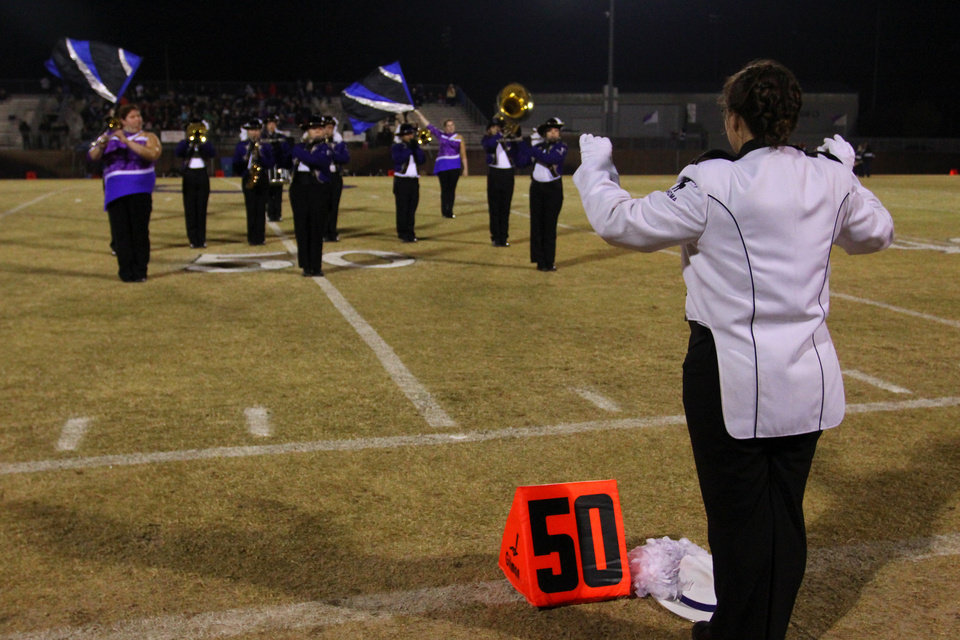 Photo - The Bethany High School band performs before the Class 3A quarterfinals between Bethany and Cascia Hall in Bethany, Friday, November 25, 2011. PHOTO BY HUGH SCOTT, FOR THE OKLAHOMAN