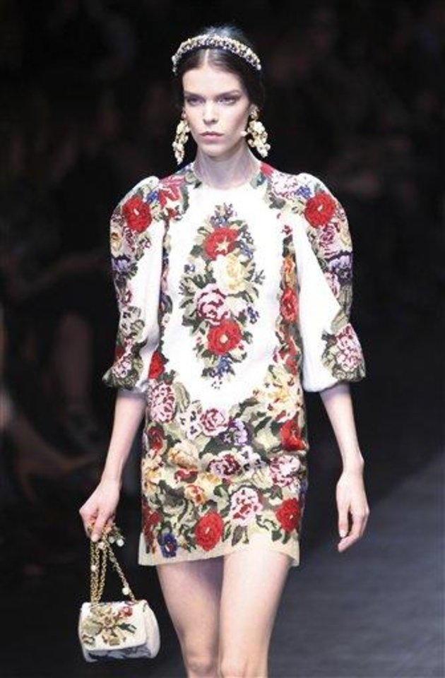 A model wears a creation part of the Dolce & Gabbana women\'s Fall-Winter 2012-13 fashion collection, during the fashion week in Milan, Italy, Sunday, Feb. 26, 2012. (AP Photo/Antonio Calanni)