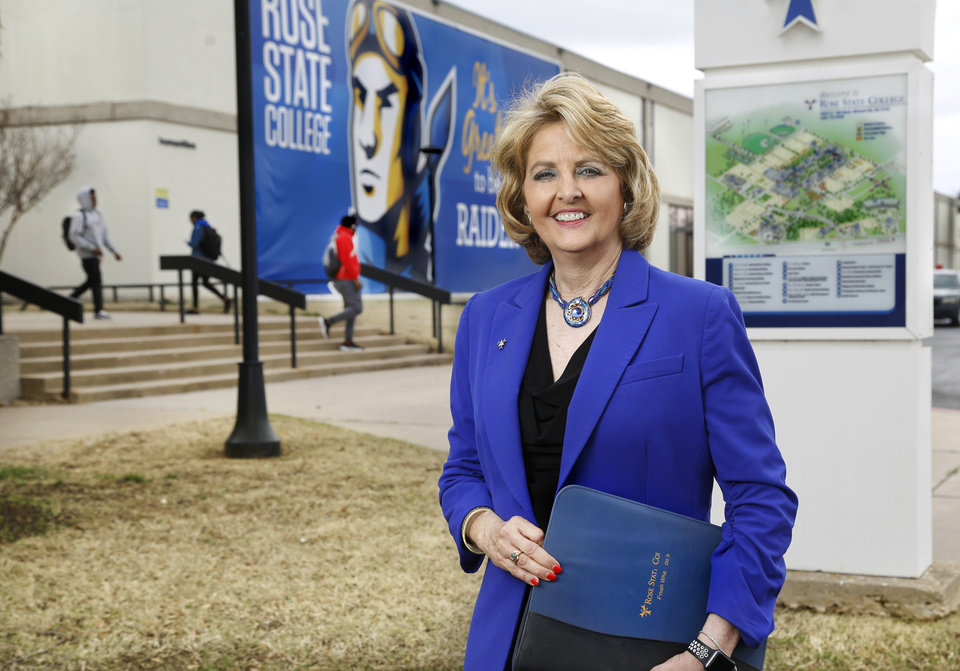 Photo -  Jeanie Webb stands outside the administration building on the campus of Rose State College. [JIM BECKEL/THE OKLAHOMAN]
