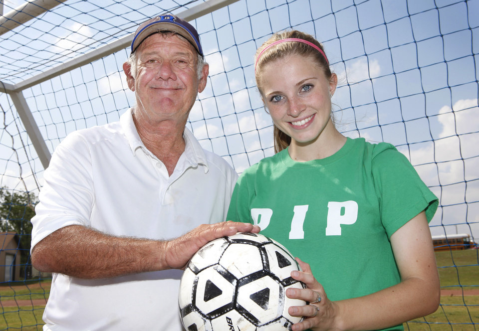 GIRLS HIGH SCHOOL SOCCER: Noble girls soccer coach Larry Worden and senior Shelbie West, Monday, April 30, 2012. Photo By David McDaniel/The Oklahoman