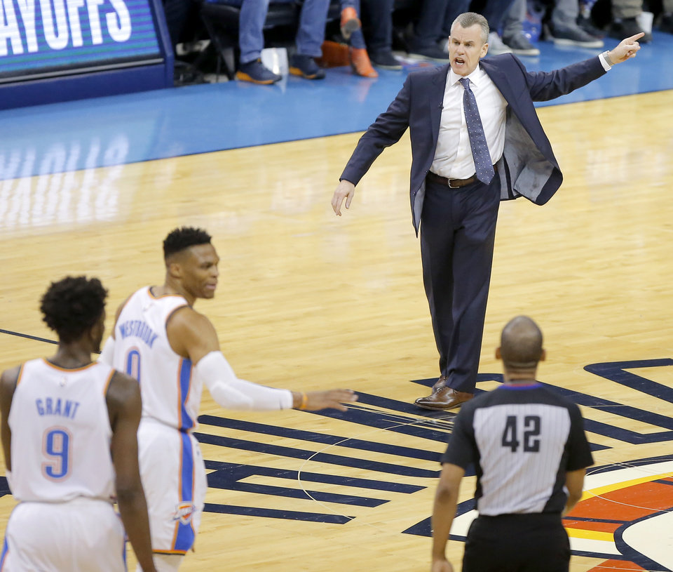 Photo - Oklahoma City coach Billy Donovan shouts towards an official during Game 4 in the first round of the NBA playoffs between the Portland Trail Blazers and the Oklahoma City Thunder at Chesapeake Energy Arena in Oklahoma City, Sunday, April 21, 2019. Photo by Bryan Terry, The Oklahoman