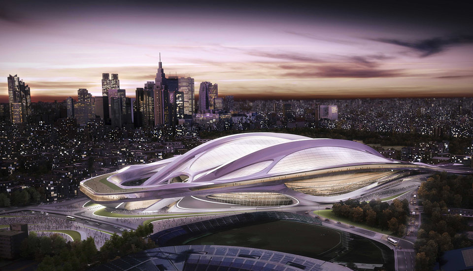 Photo - FILE - This artist rendering file released by Japan Sport Council shows the new National Stadium, which will be the main venue for the Tokyo 2020 Summer Olympics. The Olympics building spree could be a welcome boon for the economy. But there are doubts over the costs and scale of some of the proposed projects, especially an 80,000-seat stadium designed by British-Iraqi architect Zaha Hadid that was the centerpiece of Tokyo's 2020 bid. (AP Photo/Japan Sport Council, File)