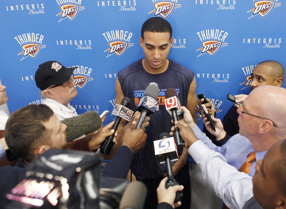 Photo - OKLAHOMA CITY THUNDER NBA BASKETBALL: New Thunder player Kevin Martin meets with media at the Integris Health Thunder Practice Facility in Oklahoma City, OK, Monday, October 29, 2012,  By Paul Hellstern, The Oklahoman