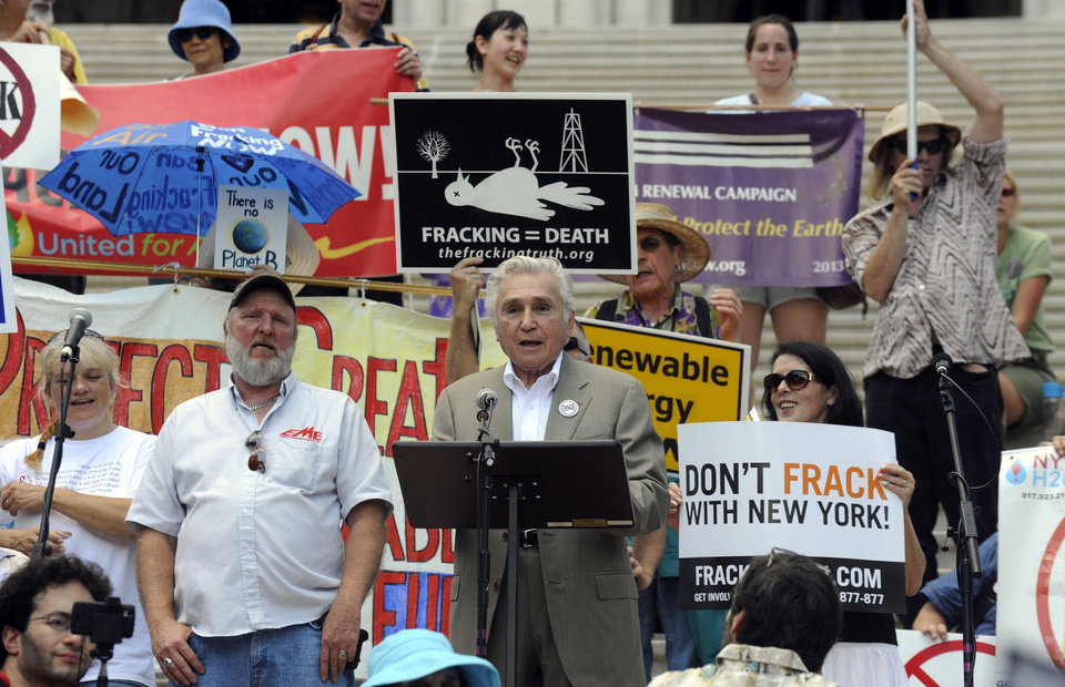 Former U.S. Rep. Maurice Hinchey addresses a rally against hydrofracking on the steps of the Capitol in Albany, N.Y., on Monday, June 17, 2013.   They are urging Gov. Andrew Cuomo to permanently ban hydraulic fracturing for natural gas in New York, saying it will harm the environment. (AP Photo/Tim Roske)  (AP Photo/Tim Roske)