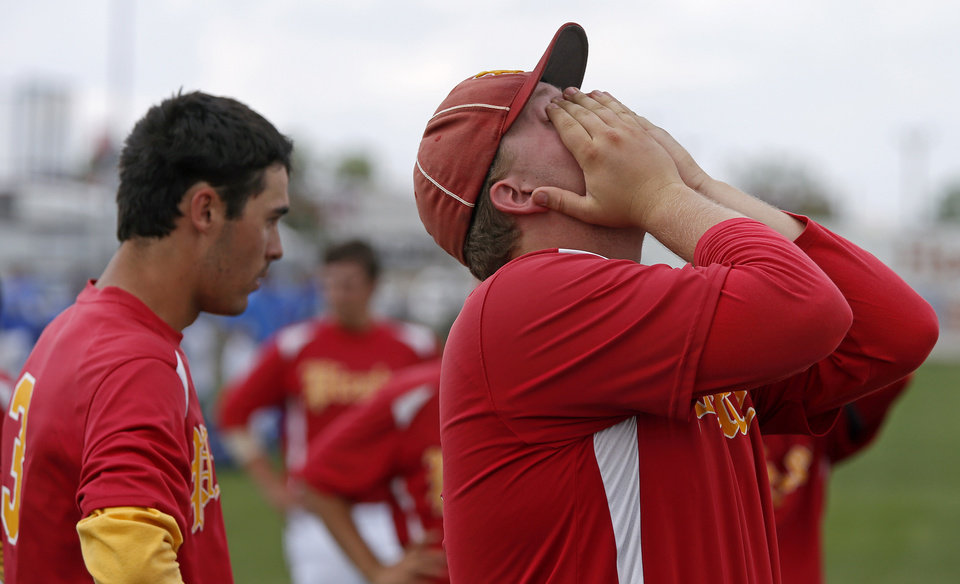 Dale's Hunter Pinkston reacts after losing to Silo in the Class 2A state baseball tournament championship game in Shawnee, Okla., Saturday, May 11, 2013. Photo by Bryan Terry, The Oklahoman