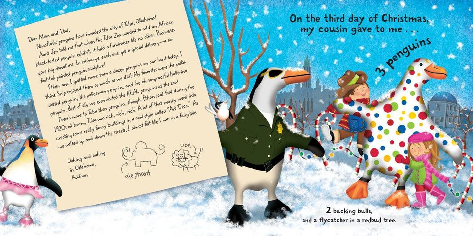 "From ""The Twelve Days of Christmas in Oklahoma,"" written by Tammi Sauer and illustrated by Victoria Hutto, this page features the penguin sculptures given to businesses in Tulsa that supported the Tulsa Zoo's quest to add an African black-footed penguin exhibit. Photo provided. <strong></strong>"