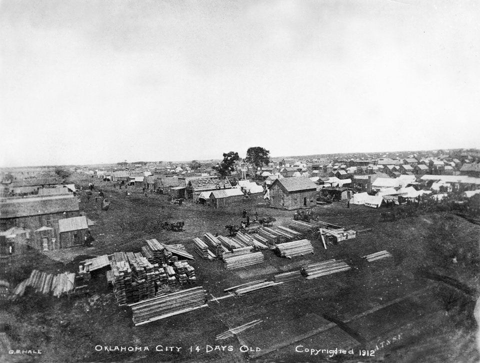 Photo -  This scene showed the boom town of Oklahoma City just 14 days after the 1889 Land Run. [The Oklahoman Archives]
