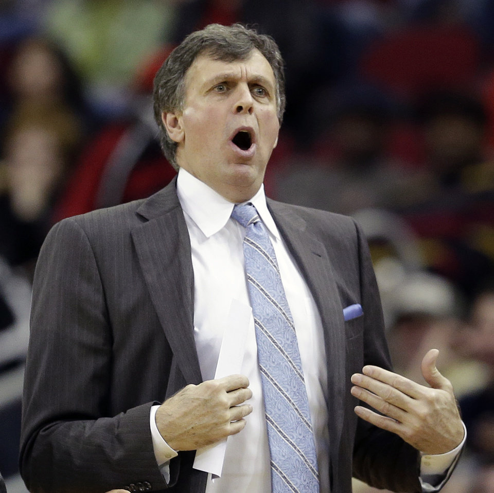 Photo - Houston Rockets coach Kevin McHale reacts after being called for a technical foul against the Portland Trail Blazers during the second quarter of an NBA basketball game on Sunday, March 9, 2014, in Houston. (AP Photo/David J. Phillip)