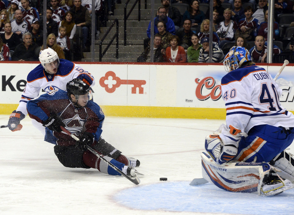 Colorado Avalanche's Matt Duchene, front left, tries to get the puck past the defense of Edmonton Oiler Ladislav Smid, back left, and goalie Devan Dubnyk, right, in the third period of an NHL hockey game in Denver, Saturday, Feb. 13, 2013. The Avalanche won 3-1. (AP Photo/The Denver Post, Andy Cross)  MAGAZINES OUT; TV OUT; INTERNET OUT; NO SALES