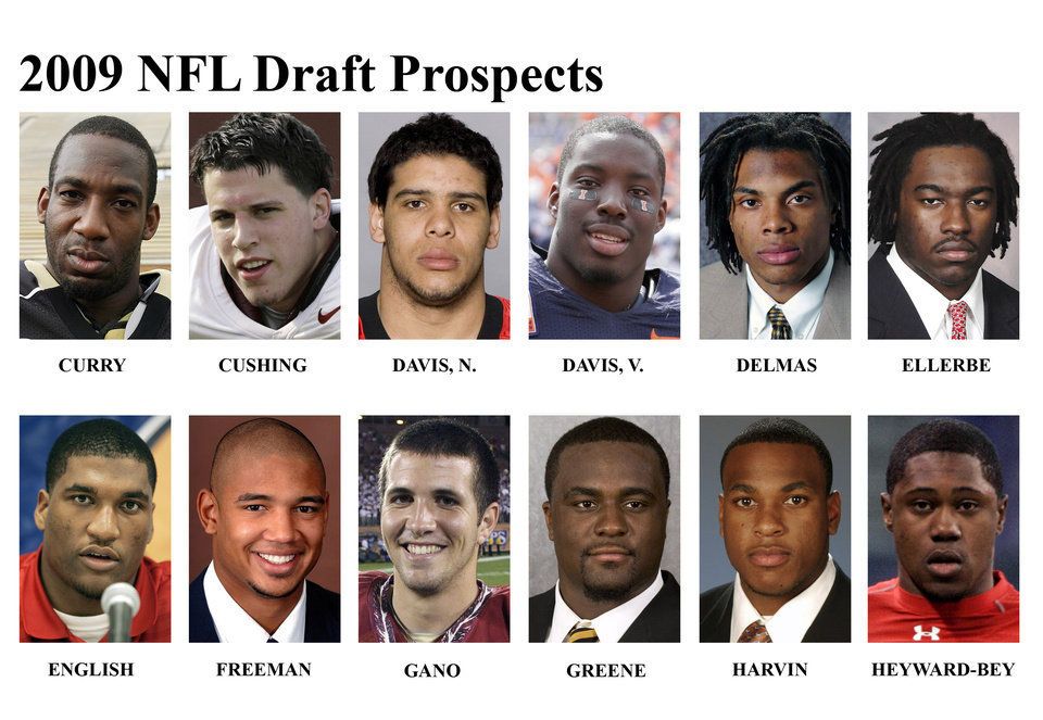 Photo - ** FOR USE AS DESIRED WITH NFL DRAFT STORIES ** FILE - In these university handouts and  file photos top college football prospects for the 2009 NFL Draft are shown. They are: Aaron Curry, Brian Cushing, Nate Davis, Vontae Davis, Louis Delmas, Dannell Ellerbe, Larry English, Josh Freeman, Graham Gano, Shonn Greene, Percy Harvin and Darrius Heyward-Bey. (AP Photo) ** MAGS OUT. NO SALES, EDITORIAL USE ONLY ** ORG XMIT: NY155