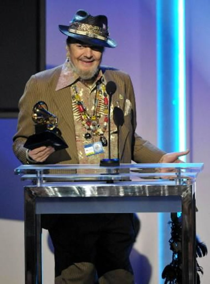 "Dr. John accepts the award for best blues album for ""Locked Down"" during the pre-telecast at the 55th annual Grammy Awards on Sunday, Feb. 10, 2013, in Los Angeles. (AP)"