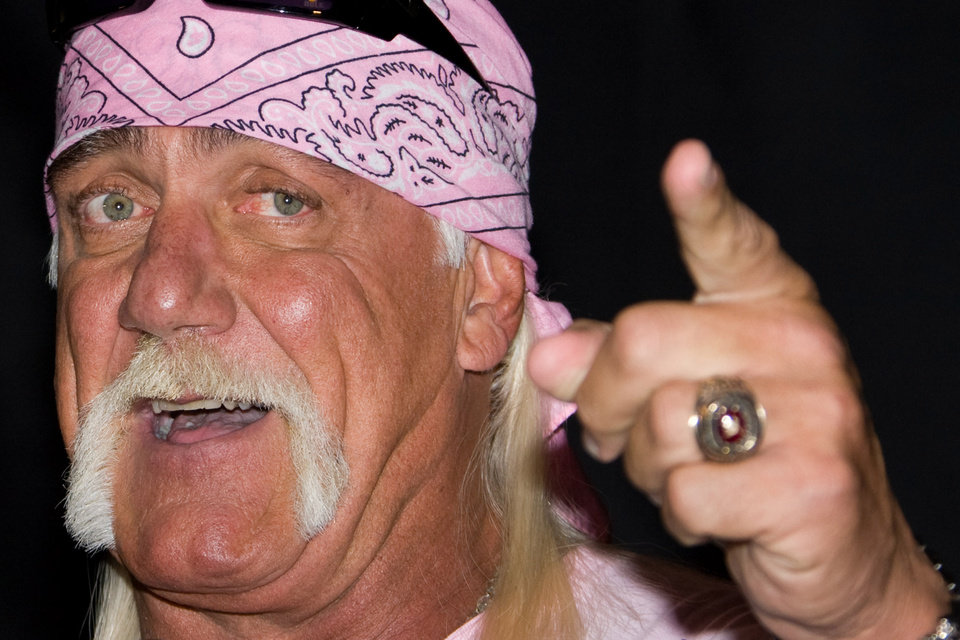 "Photo -   FILE - In this Oct. 27, 2009 file photo, Hulk Hogan attends a news conference to announce his return to wrestling with TNA Wrestling held at Madison Square Garden in New York. Hogan is suing a Tampa Bay-based disc jockey, the DJ's ex-wife and a New York media group over a sex tape. According to a news release sent by a publicist, two lawsuits will be discussed during a news conference on Monday, Oct. 15, 2012, near the federal courthouse in Tampa. Hogan said he was illegally taped having sex with the ex-wife of DJ Bubba ""The Love Sponge"" Clem without his consent six years ago. The video of Hogan and Heather Clem was leaked to the online gossip site Gawker, which posted portions. Hogan has sent a cease-and-desist letter to Gawker, which has not removed the video. (AP Photo/Charles Sykes)"