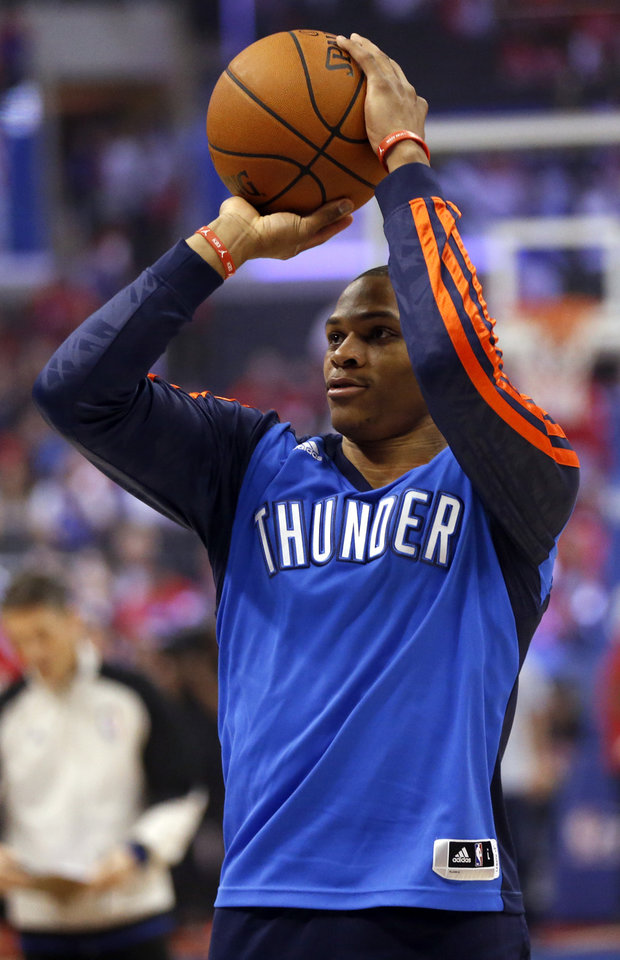 Photo - Oklahoma City's Russell Westbrook (0) warms up before Game 3 of the Western Conference semifinals in the NBA playoffs between the Oklahoma City Thunder and the Los Angeles Clippers at the Staples Center in Los Angeles, Friday, May 9, 2014. Photo by Nate Billings, The Oklahoman