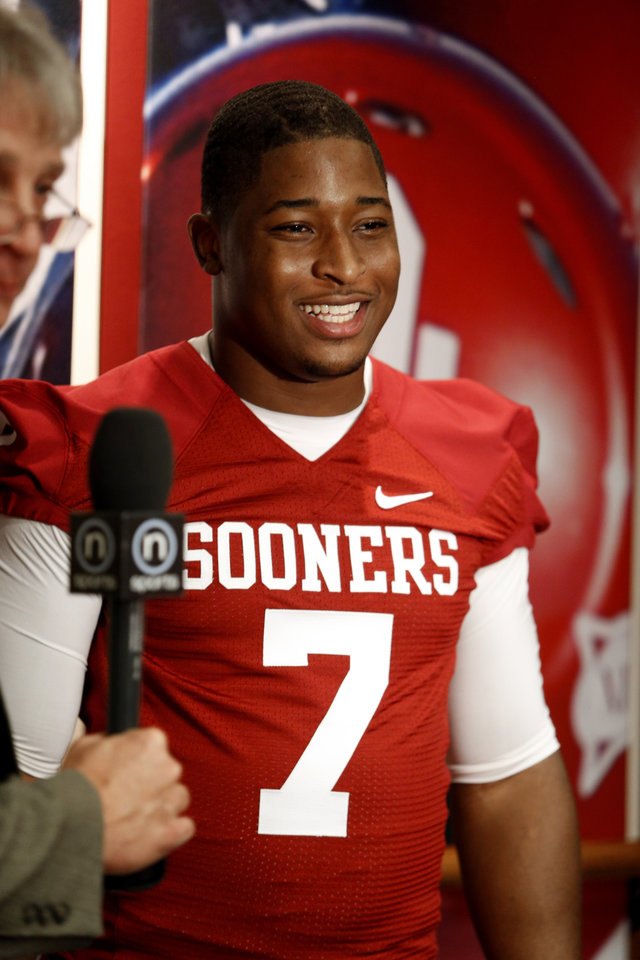 Photo - Corey Nelson (7) speaks with the media during the Meet the Sooners event at the University of Oklahoma on Saturday, Aug. 4, 2012, in Norman, Okla.  Photo by Steve Sisney, The Oklahoman