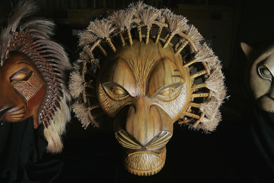 Photo - Mufasa mask for the Lion King production Friday, April 24, 2009 at the Civic Center in OKC. Photo by Jaconna Aguirre, The Oklahoman. ORG XMIT: KOD
