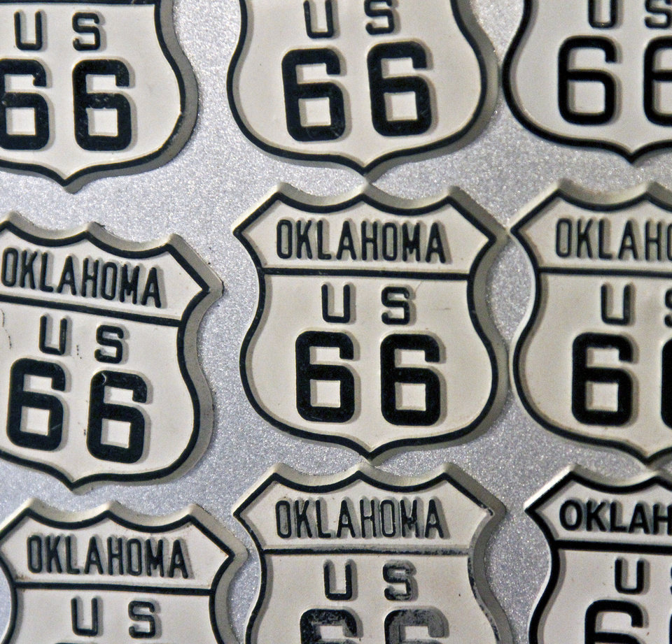 Route 66 magnets on sale in the Round Barn in Arcadia. The Round Barn provided a case story for a research project by the National Parks Service. <strong>CHRIS LANDSBERGER - The Oklahoman</strong>